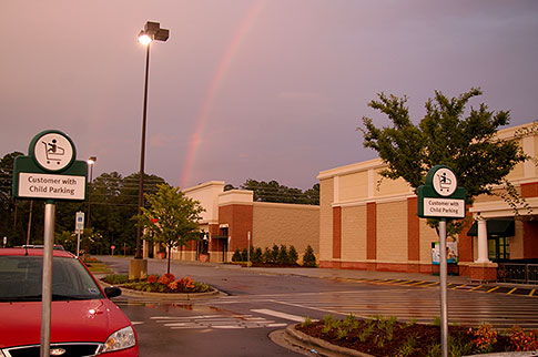 rainbow over supermarket