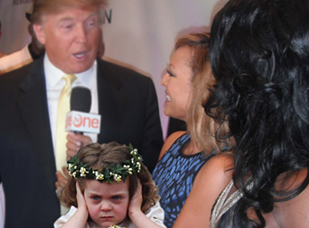 photo composite: royal flower girl covers ears at Trump interview