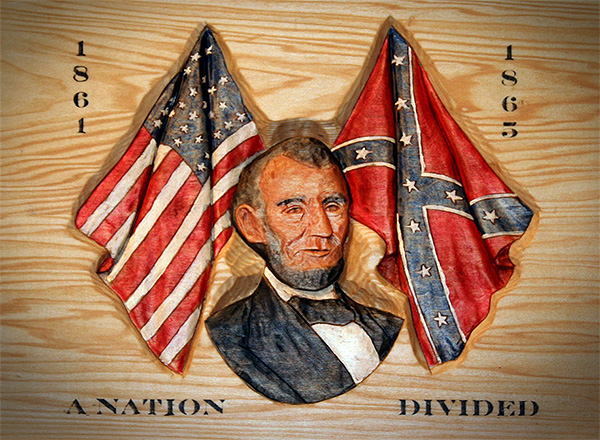 Lincoln with American and Confederate flags